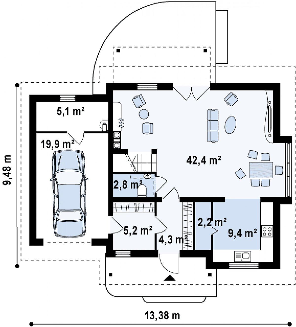 Первый этаж 66,3(91,3м²) дома Z114