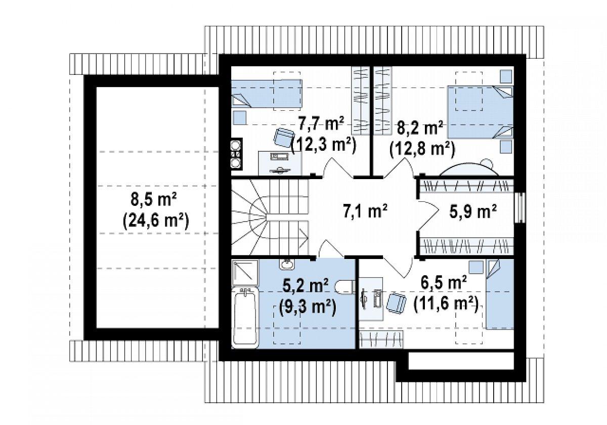Второй этаж 40,6(59,0м²) дома Z114