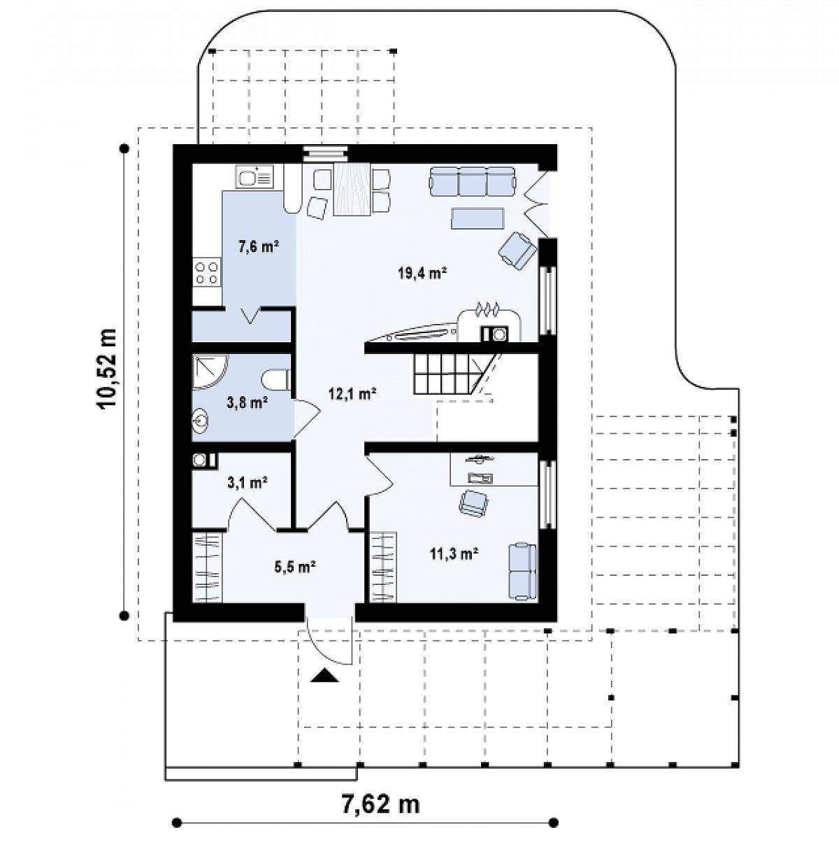 Первый этаж 62,8 м² дома Z115