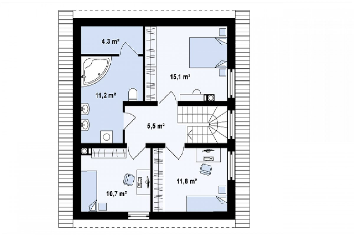 Второй этаж 58,6 м² дома Z115