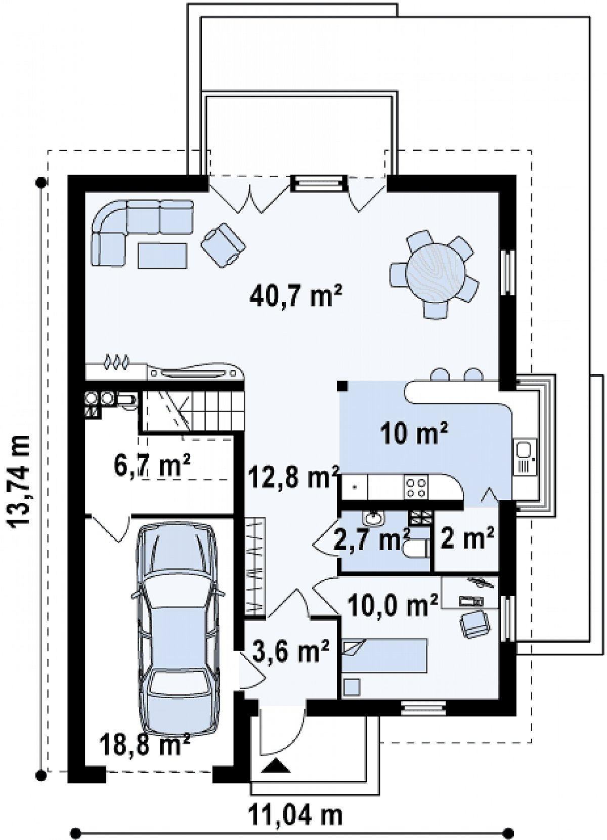 Первый этаж 81,8(107,2м²) дома Z116