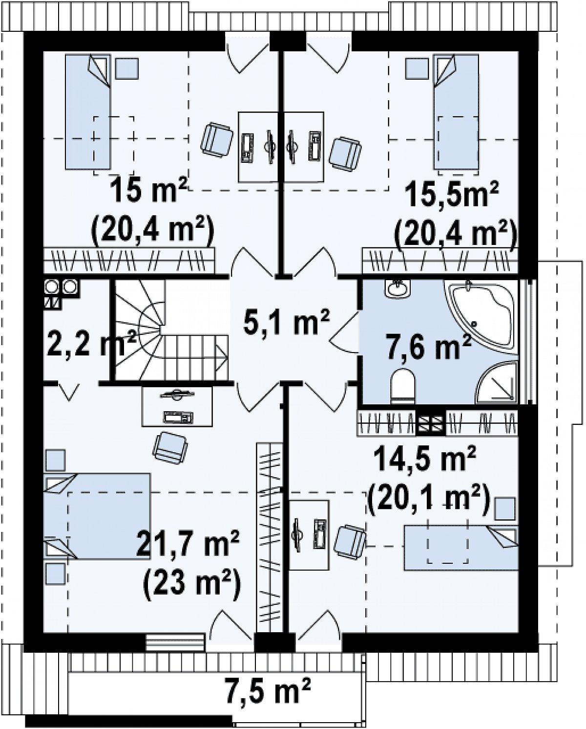 Второй этаж 81,6(96,5м²) дома Z116