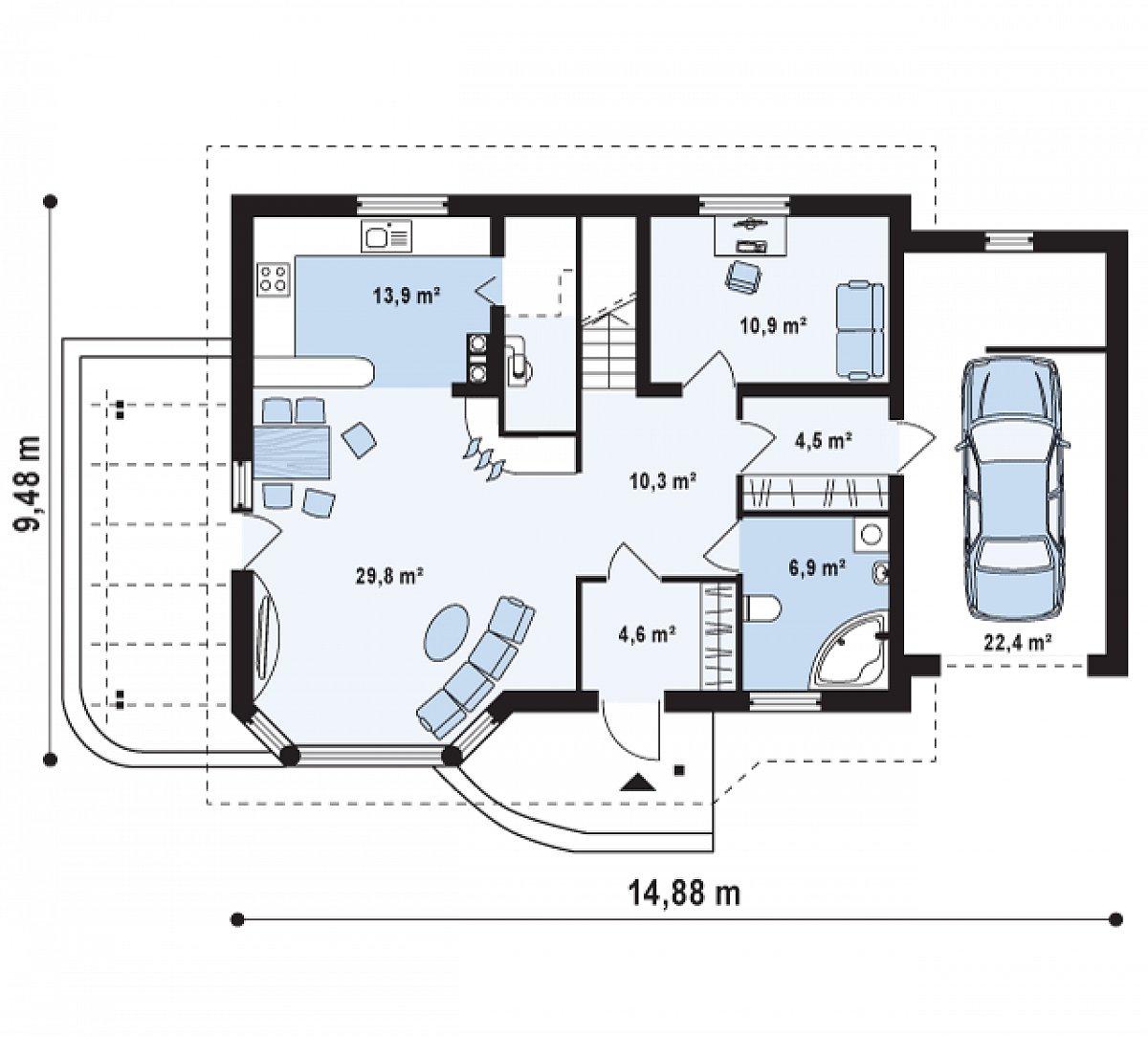 Первый этаж 80,9(103,3м²) дома Z117