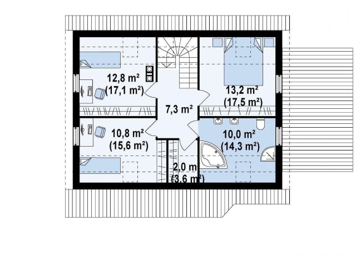 Второй этаж 56,1(75,4м²) дома Z117