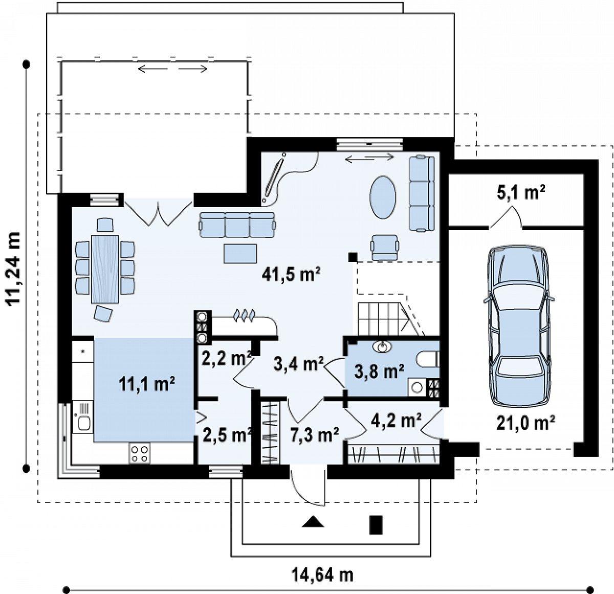 Первый этаж 93,3(119,4м²) дома Z118