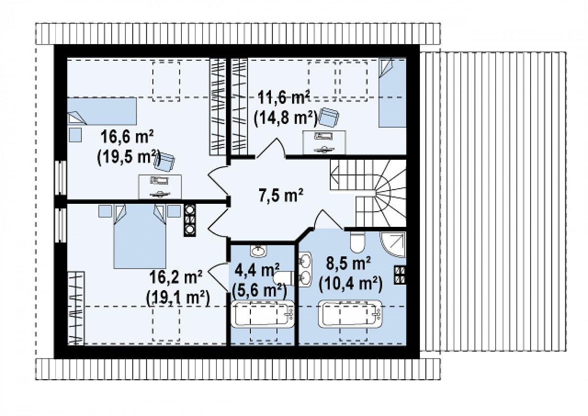 Второй этаж 64,5(76,5м²) дома Z118