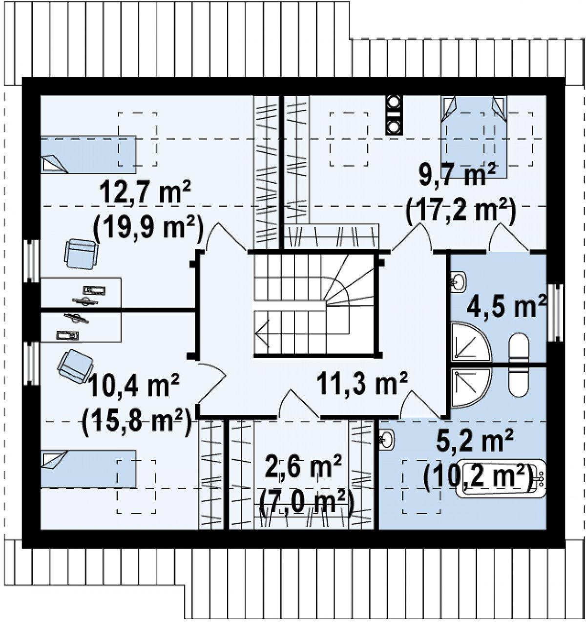 Второй этаж 56,4(85,9м²) дома Z119