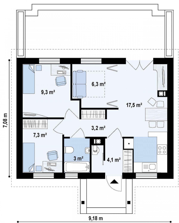 Первый этаж 50,7 м² дома Z11