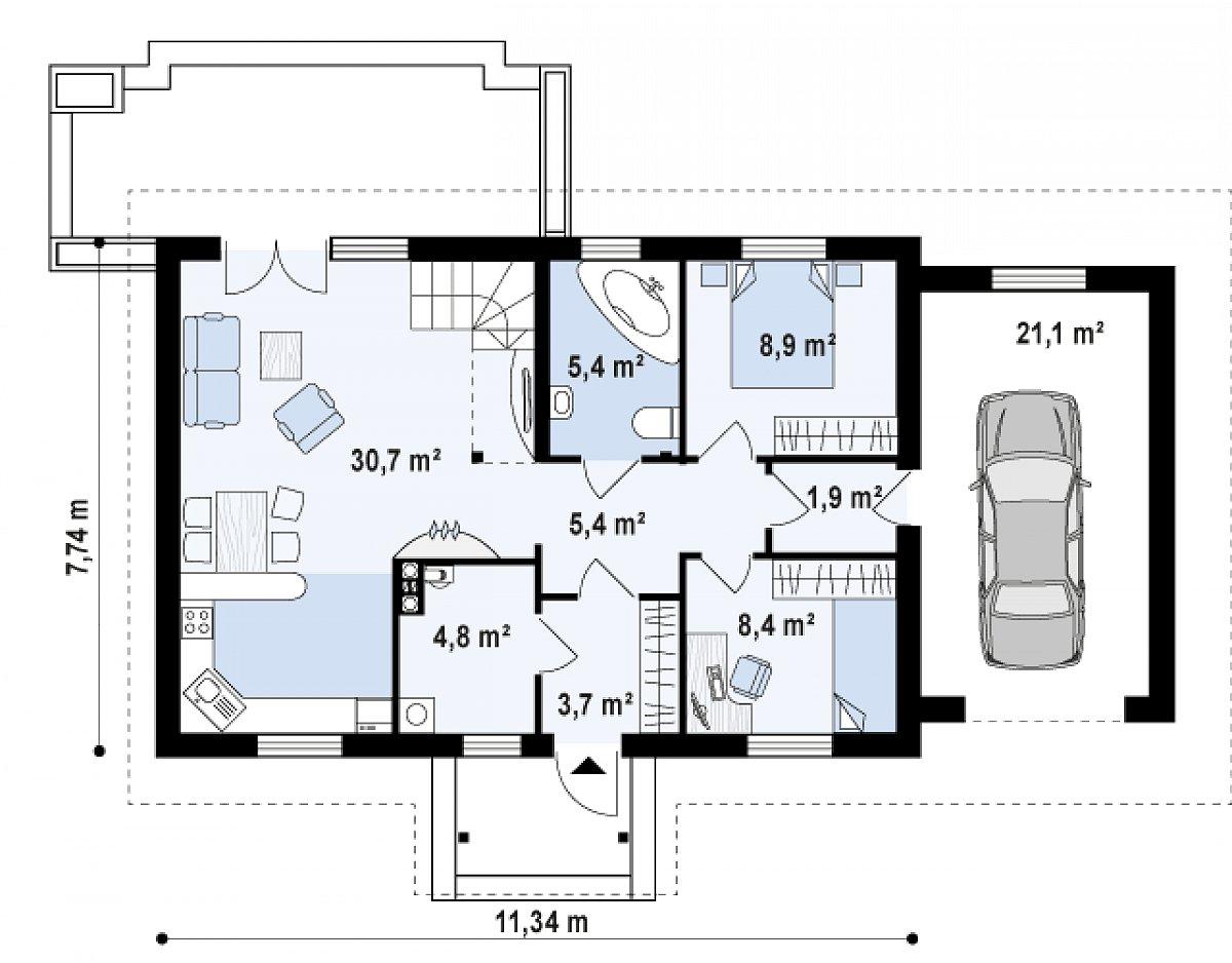 Первый этаж 67,8(88,9м²) дома Z12 P GP