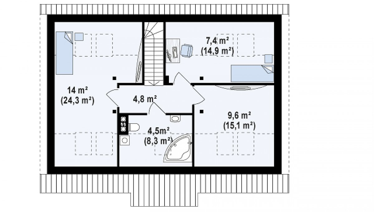 Второй этаж 36,7(67,4м²) дома Z12 P GP