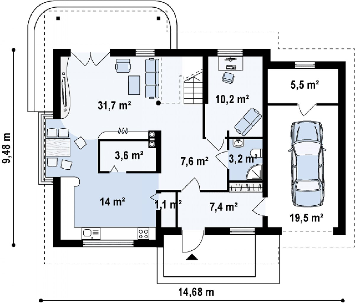 Первый этаж 78,8(103,8м²) дома Z120