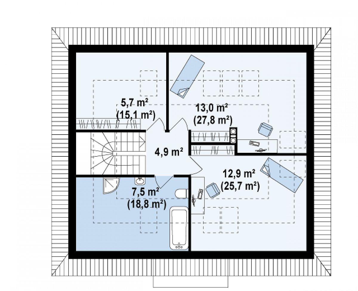 Второй этаж 43,9(92,4м²) дома Z121