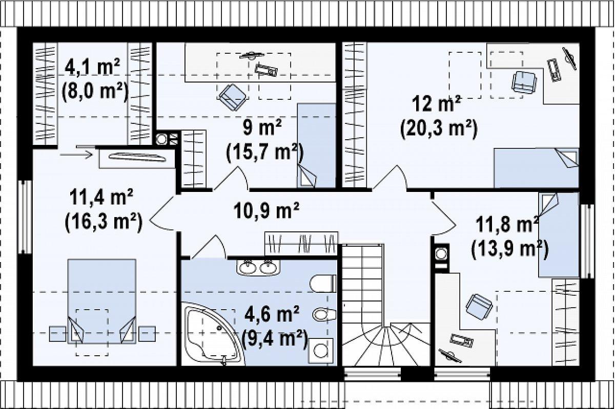 Второй этаж 57,3(94,5м²) дома Z122 v2