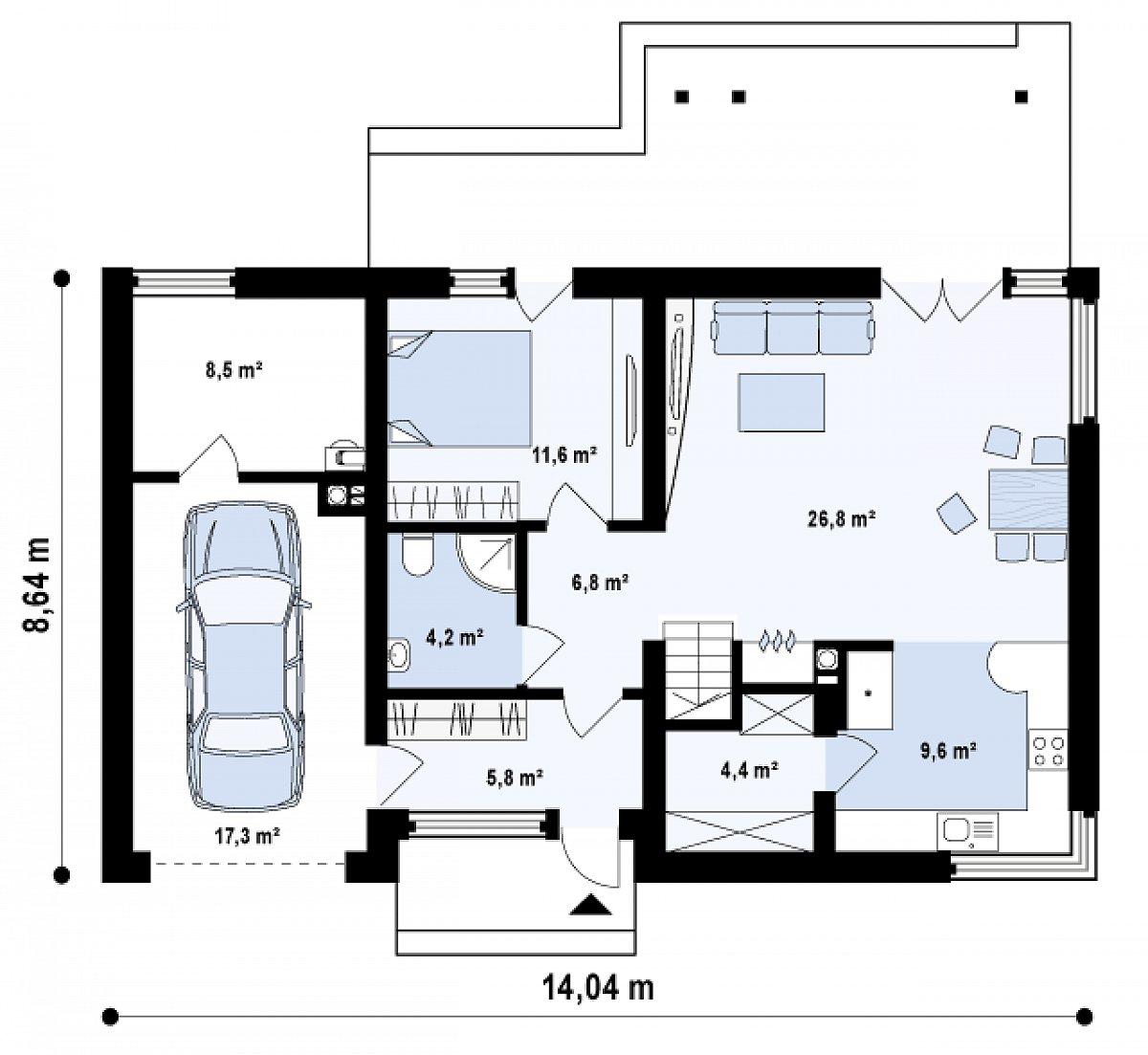 Первый этаж 69,2(95,0м²) дома Z122
