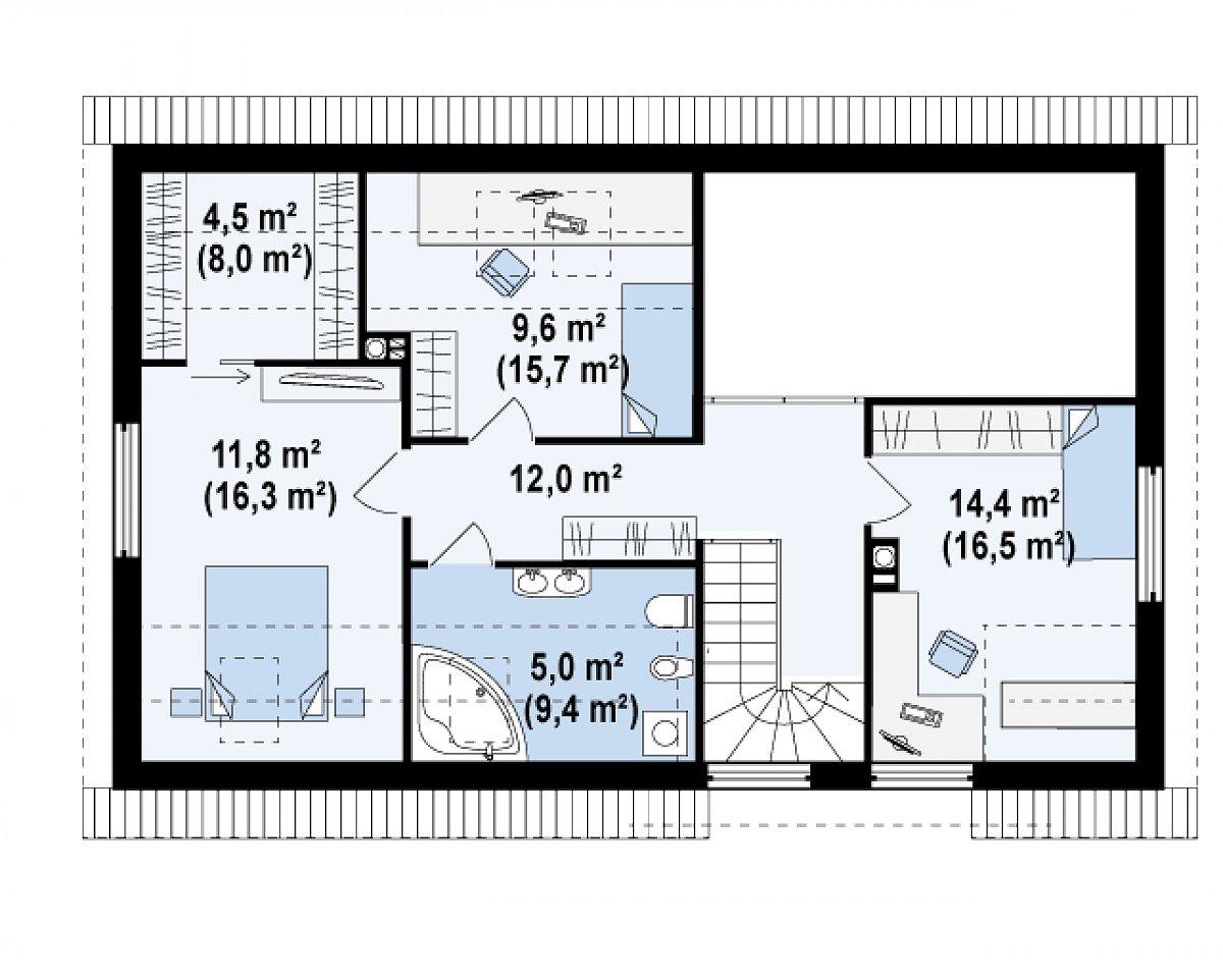 Второй этаж 57,3(78,0м²) дома Z122