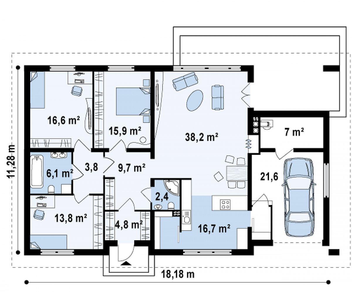 Первый этаж 130,0(156,6м²) дома Z123