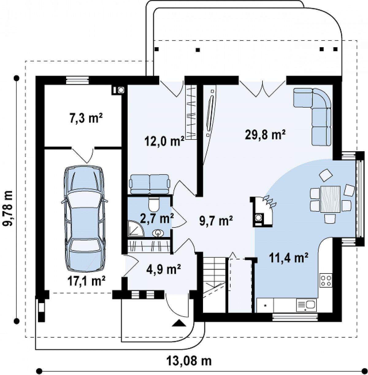 Первый этаж 70,5(94,9м²) дома Z124