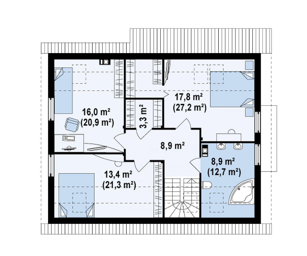 Второй этаж 68,4(94,3м²) дома Z124