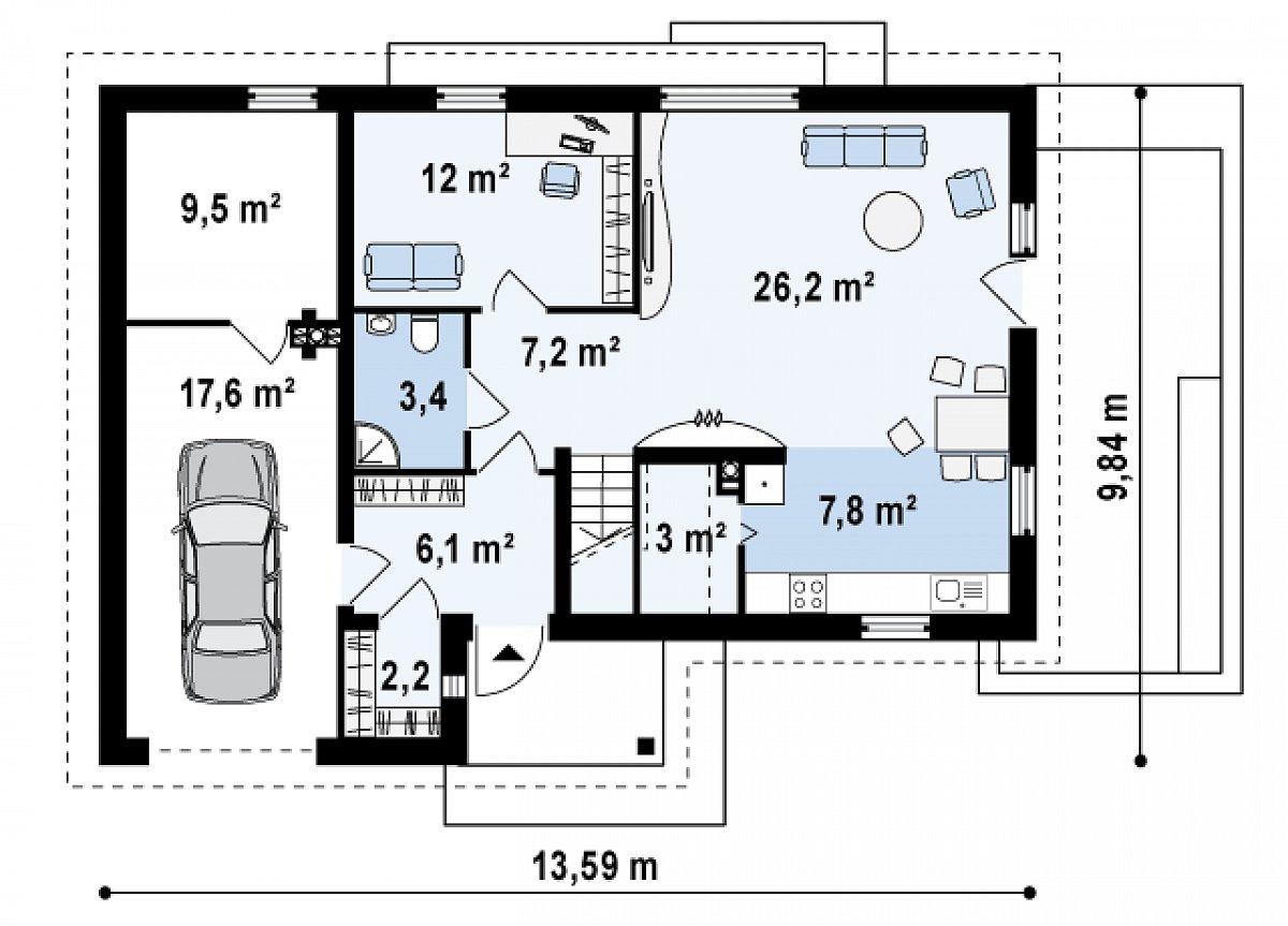 Первый этаж 67,9(95,0м²) дома Z125