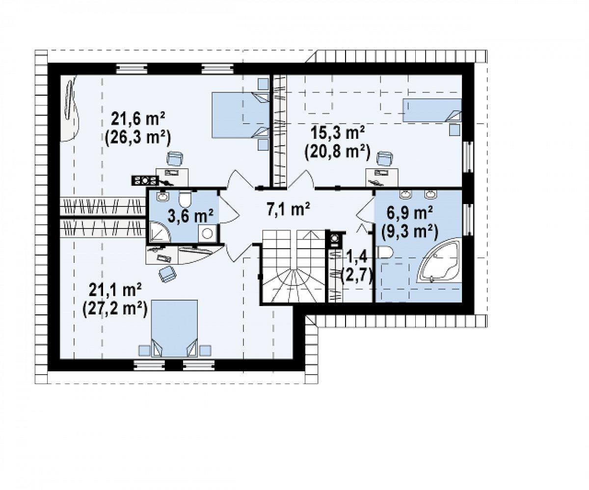 Второй этаж 77,0(97,2м²) дома Z125