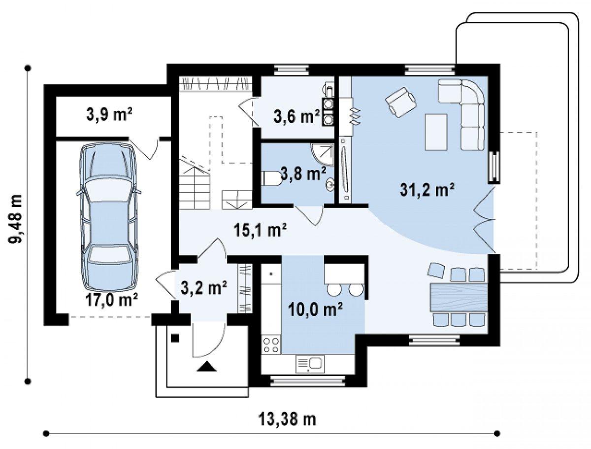 Первый этаж 66,9(87,8м²) дома Z126