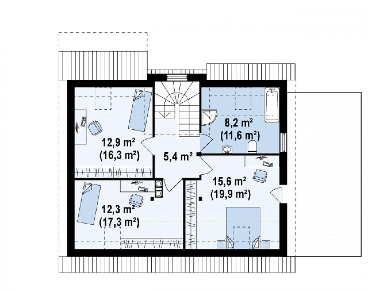 Второй этаж 54,4(70,5м²) дома Z127