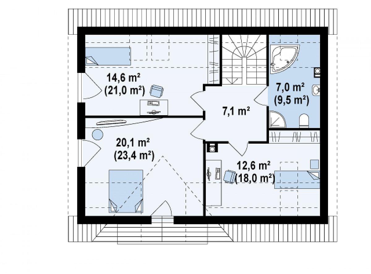 Второй этаж 61,4(79,0м²) дома Z128