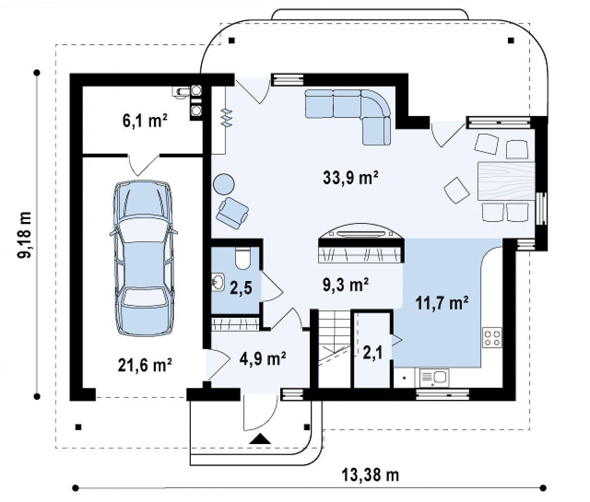 Первый этаж 64,4(92,1м²) дома Z129