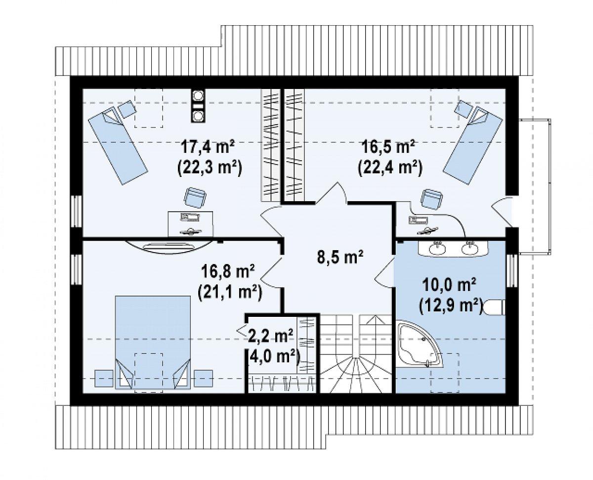 Второй этаж 71,3(91,2м²) дома Z129