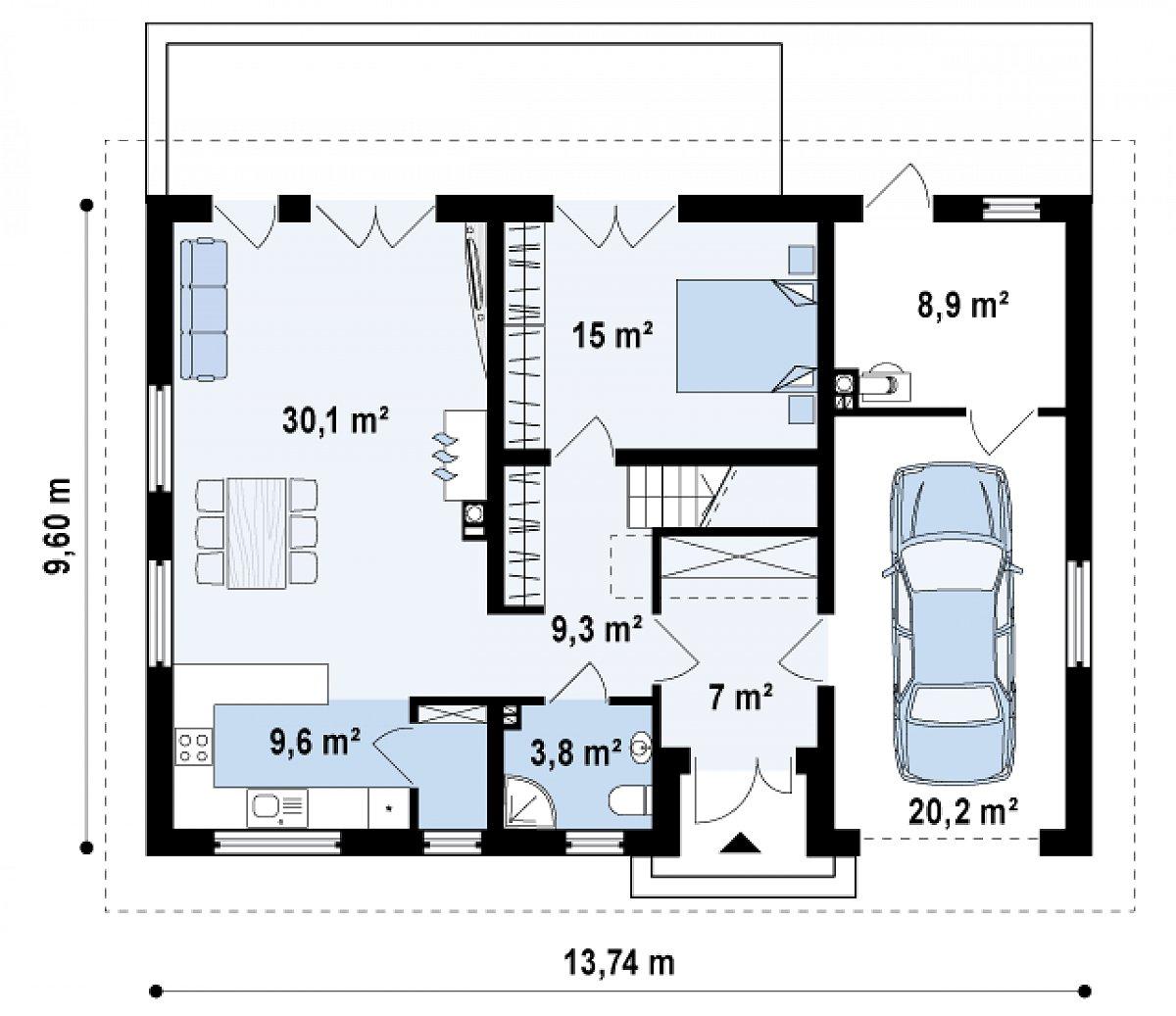 Первый этаж 74,9(103,9м²) дома Z130