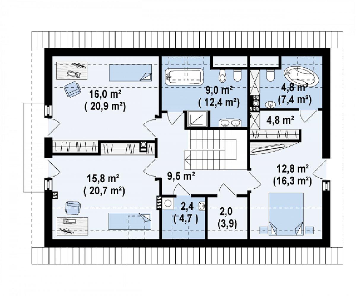 Второй этаж 77,0(100,6м²) дома Z130