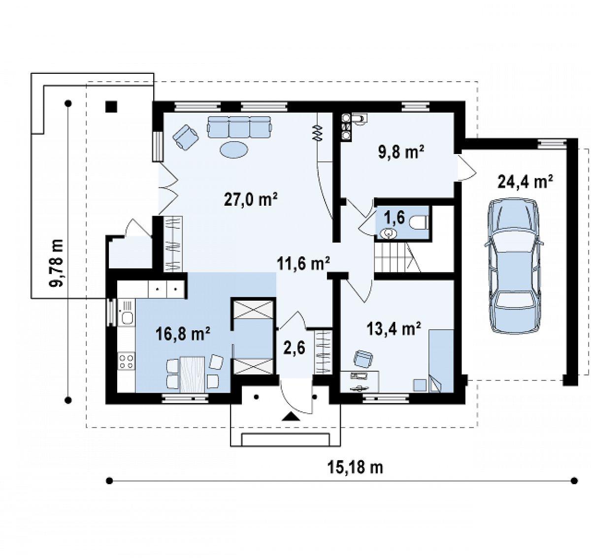 Первый этаж 80,5(104,9м²) дома Z132
