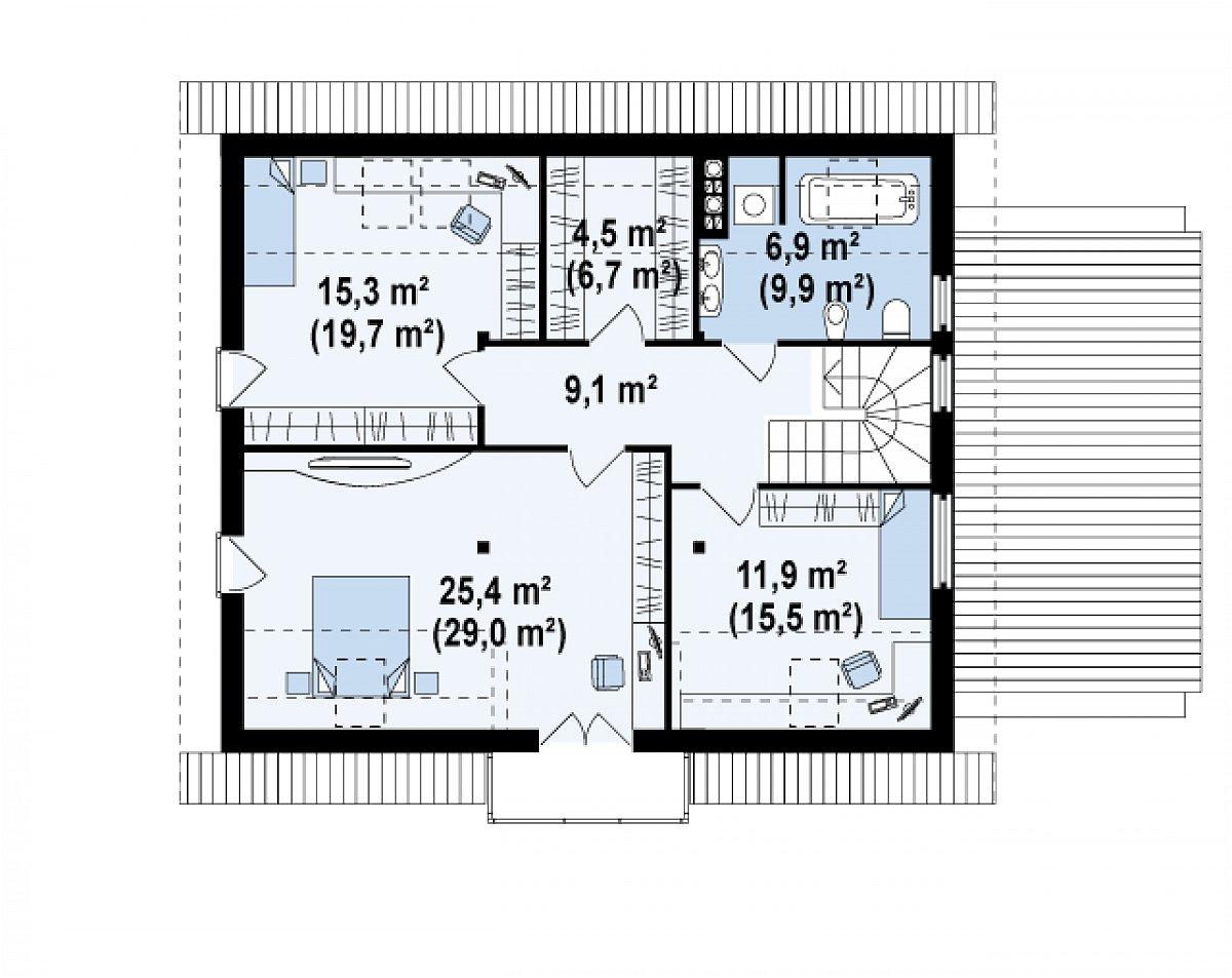 Второй этаж 73,2(90,0м²) дома Z132
