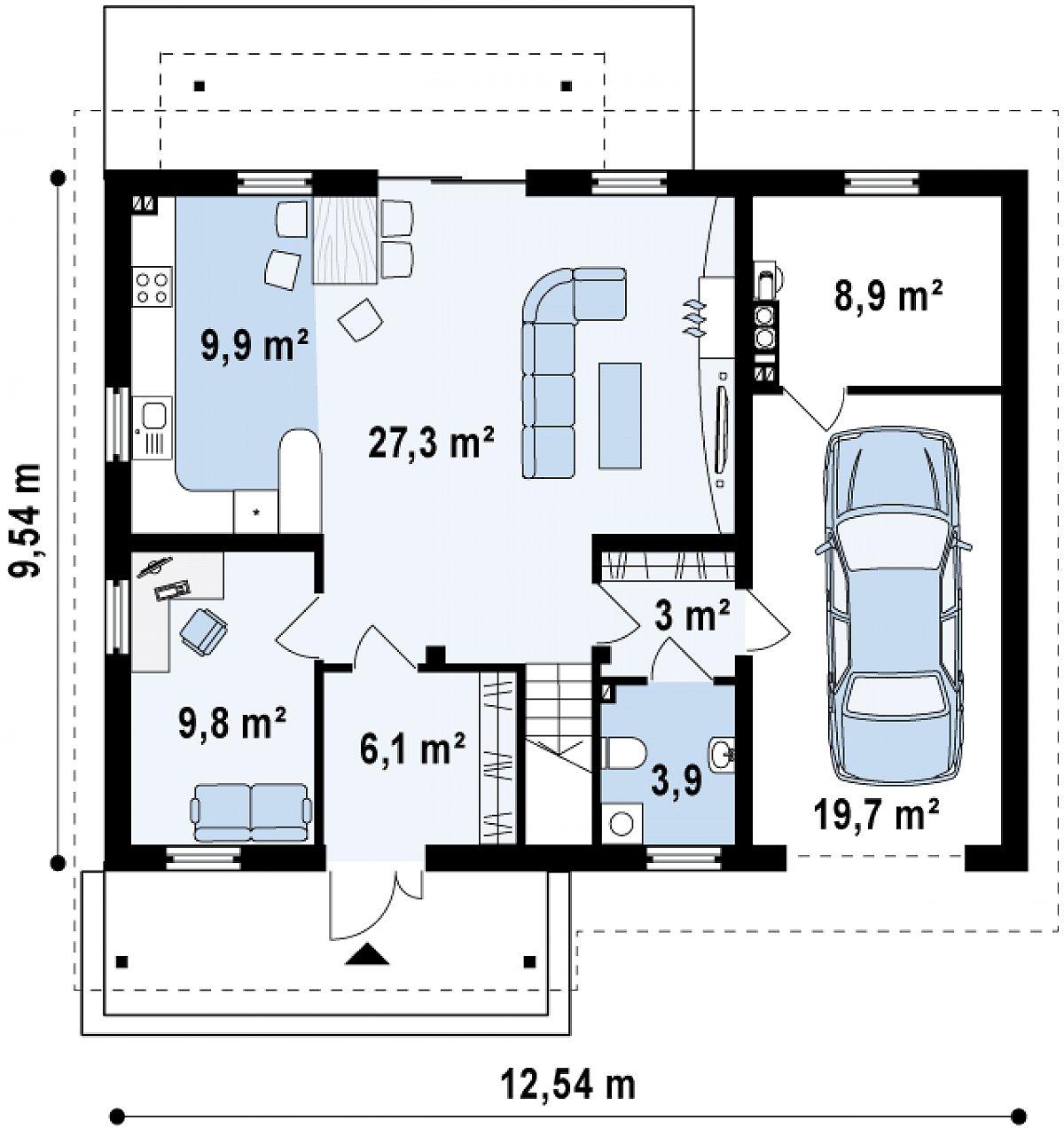 Первый этаж 68,5(97,2м²) дома Z133