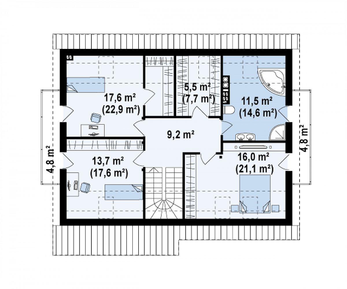 Второй этаж 73,6(93,0м²) дома Z133