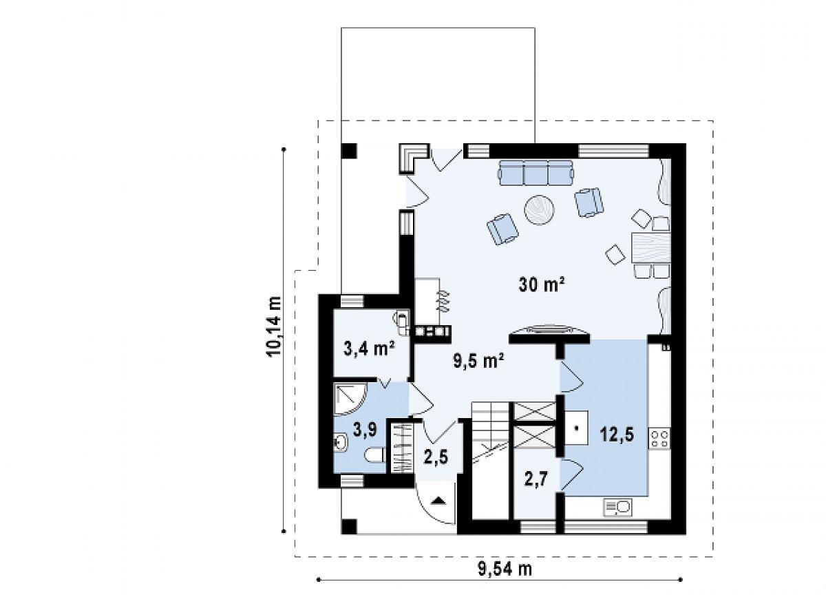 Первый этаж 64,6 м² дома Z134