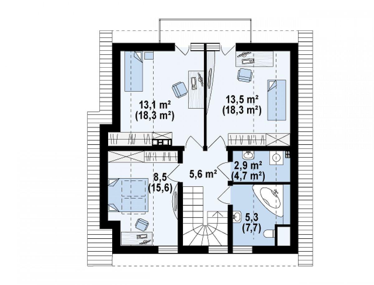 Второй этаж 49,0(70,2м²) дома Z134