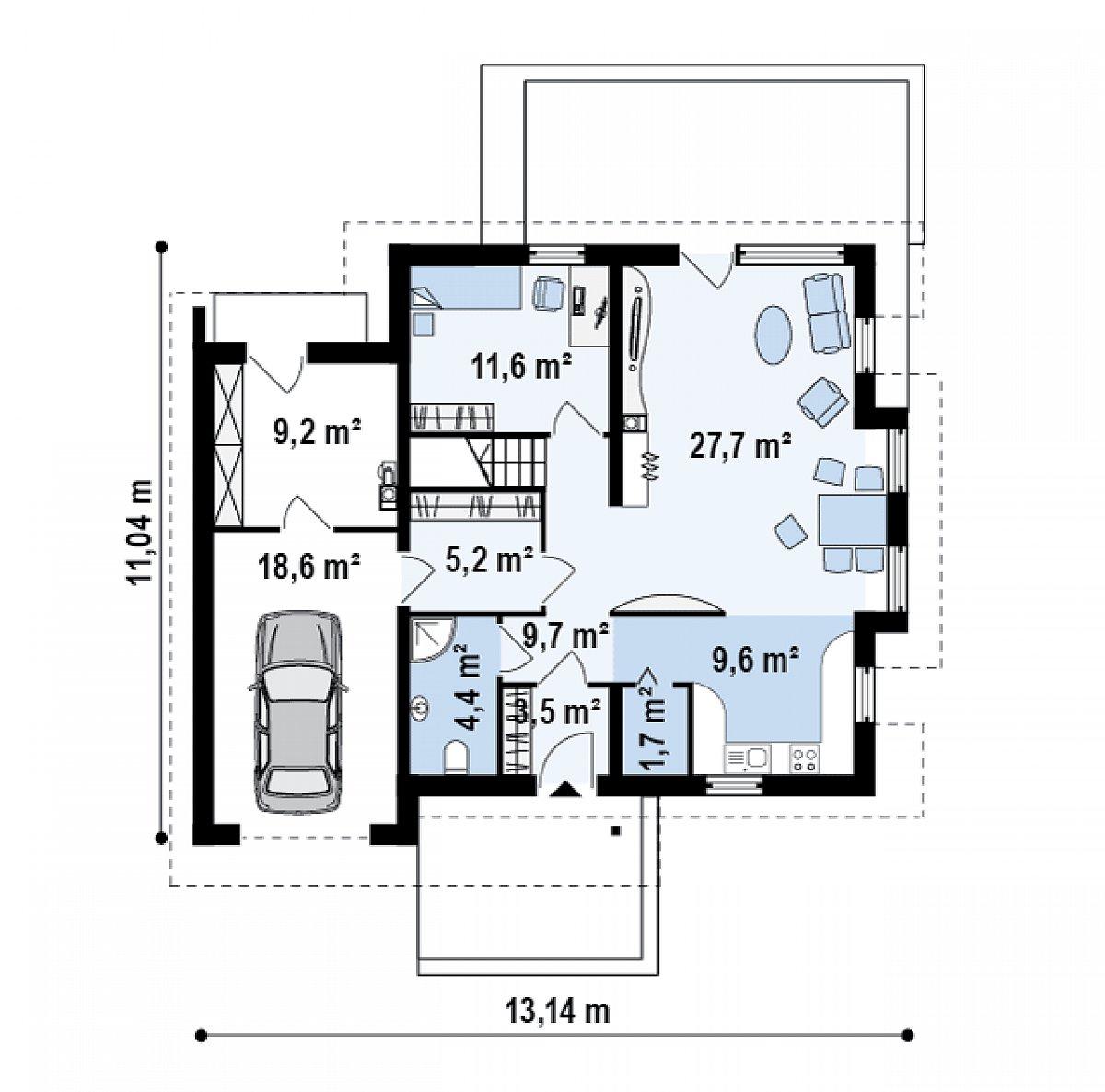Первый этаж 73,4(101,2м²) дома Z135