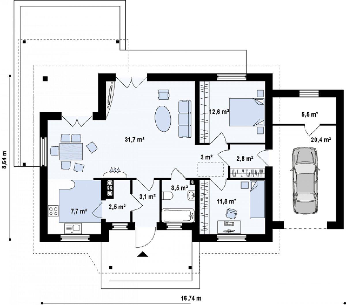 Первый этаж 78,9(104,8м²) дома Z136 GP