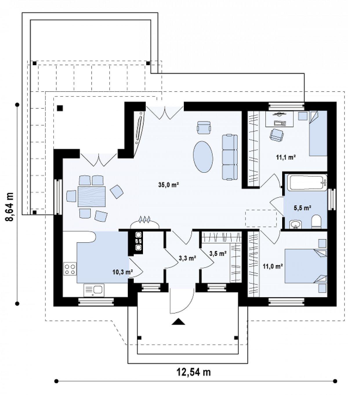 Первый этаж 79,6 м² дома Z136