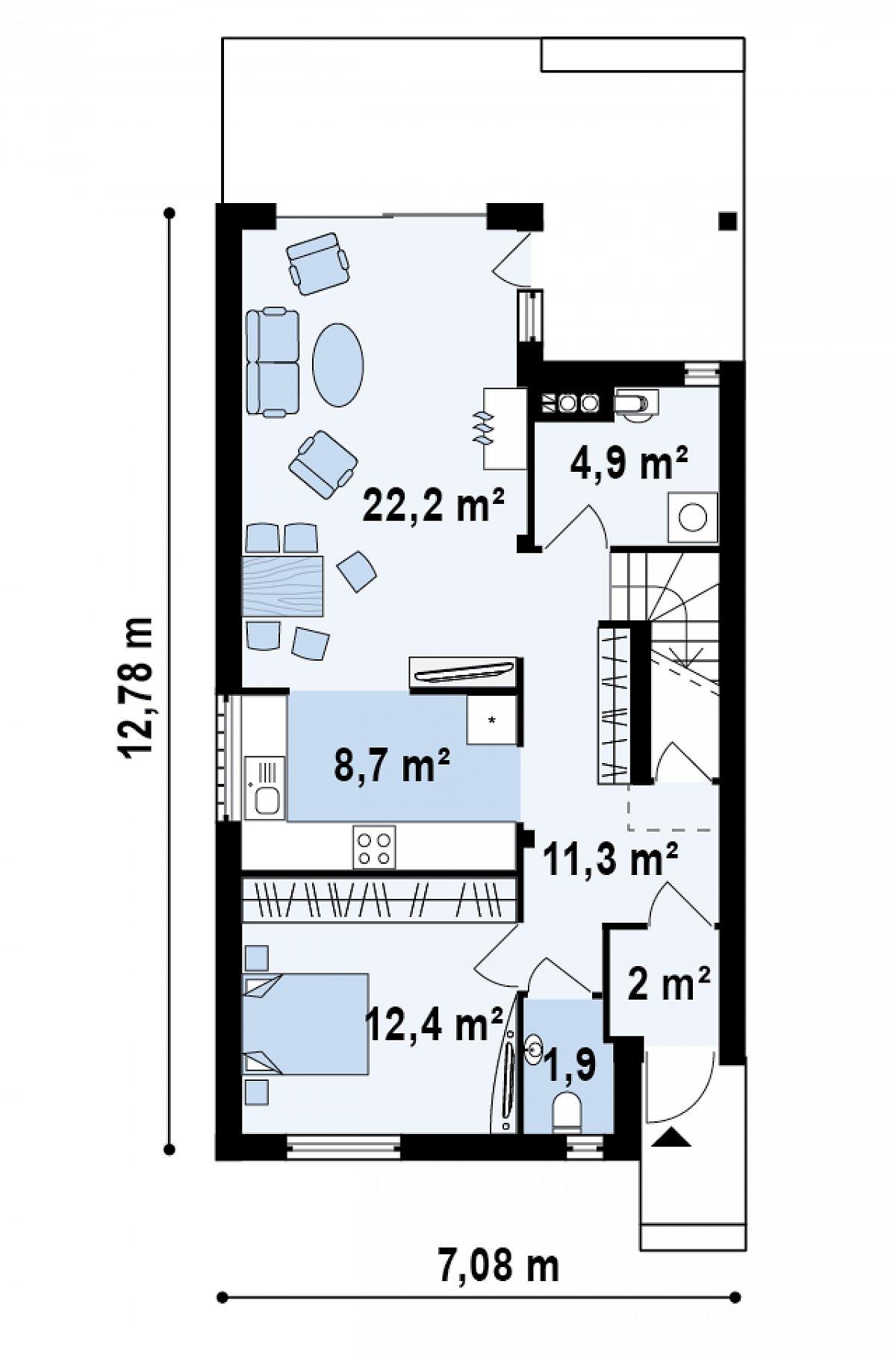 Первый этаж 65,4 м² дома Z137
