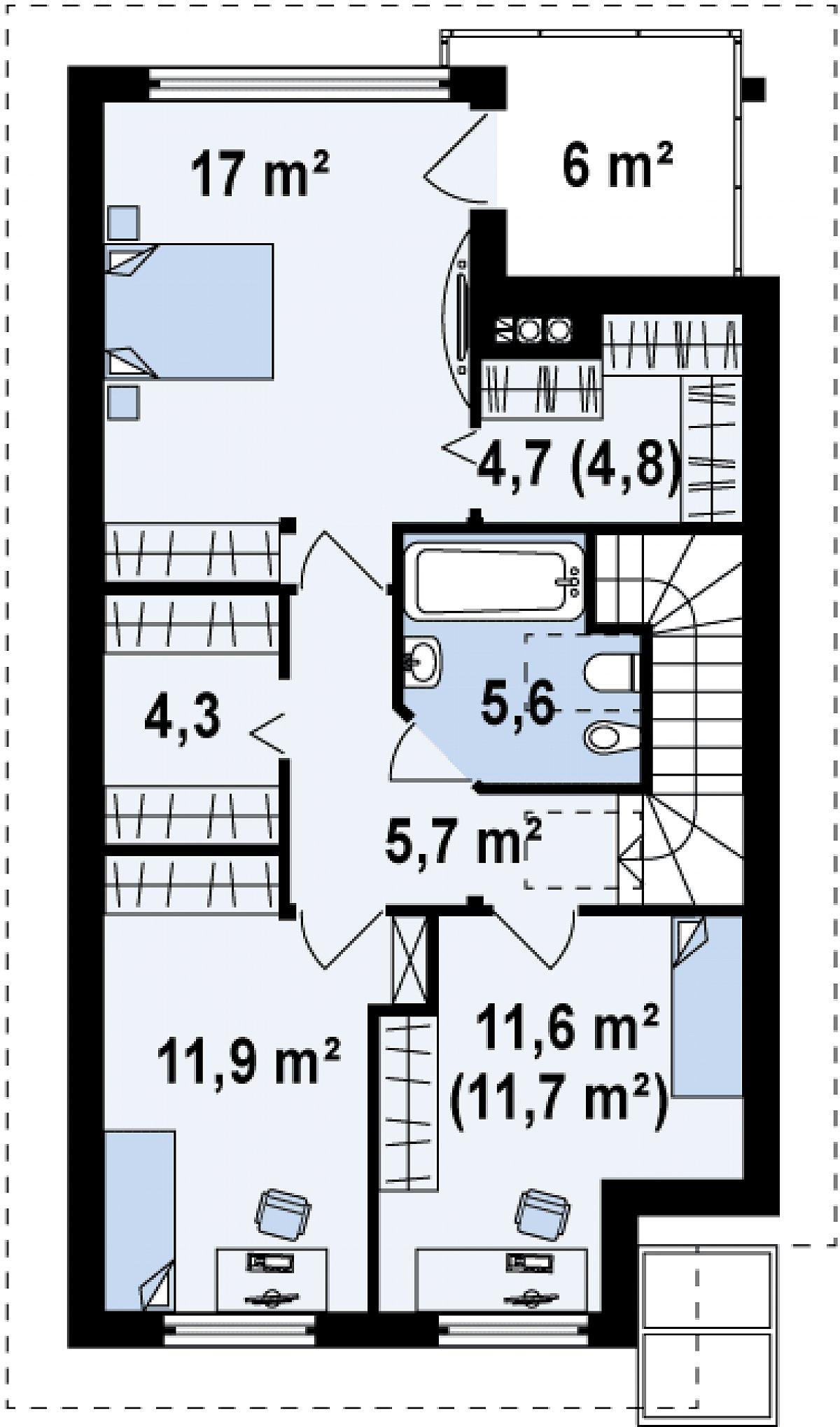 Второй этаж 60,8(61,0м²) дома Z137