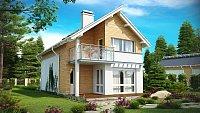 Проект дачного дома с мансардой 6х8 Z137