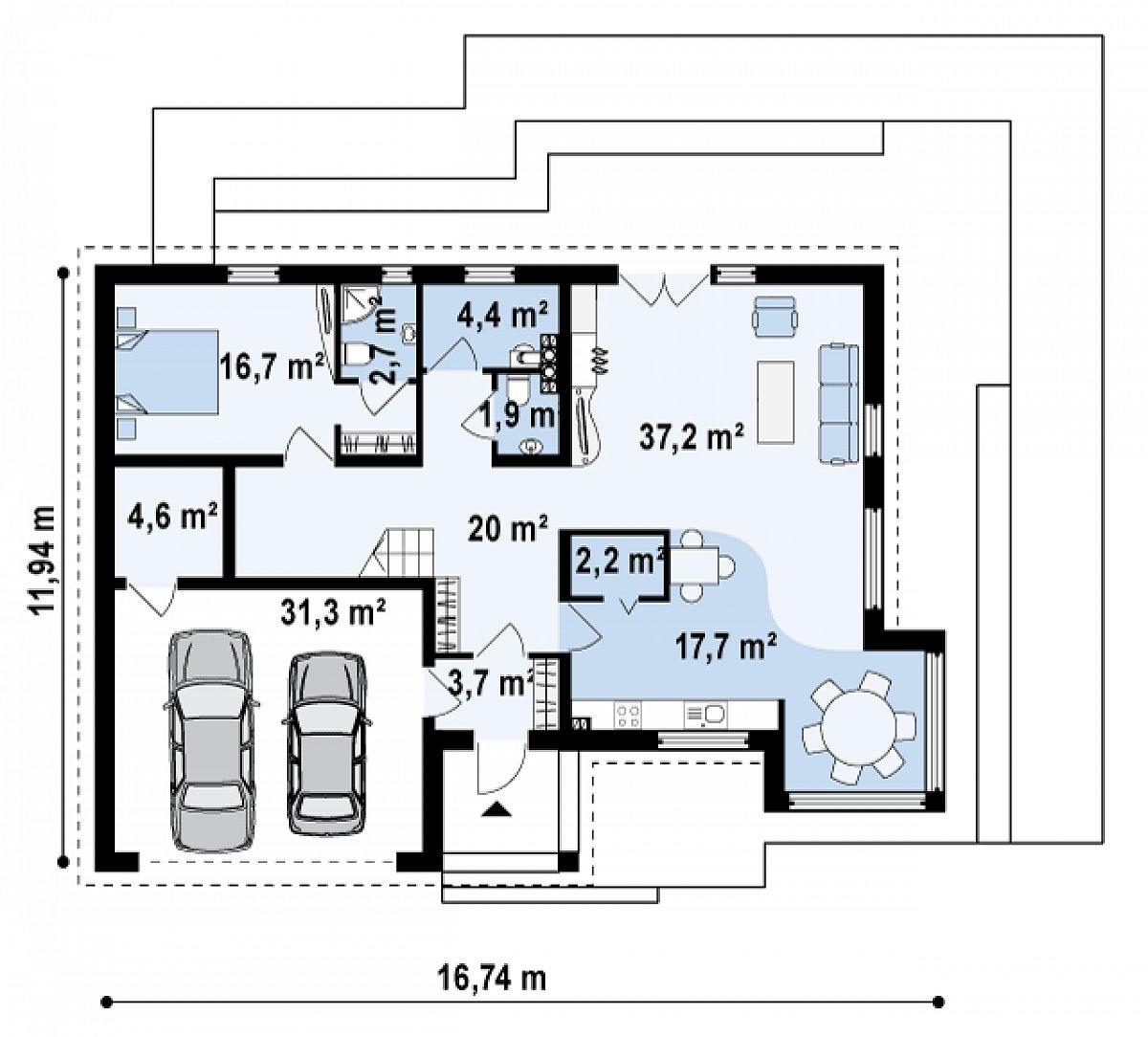 Первый этаж 109,2(140,5м²) дома Z138