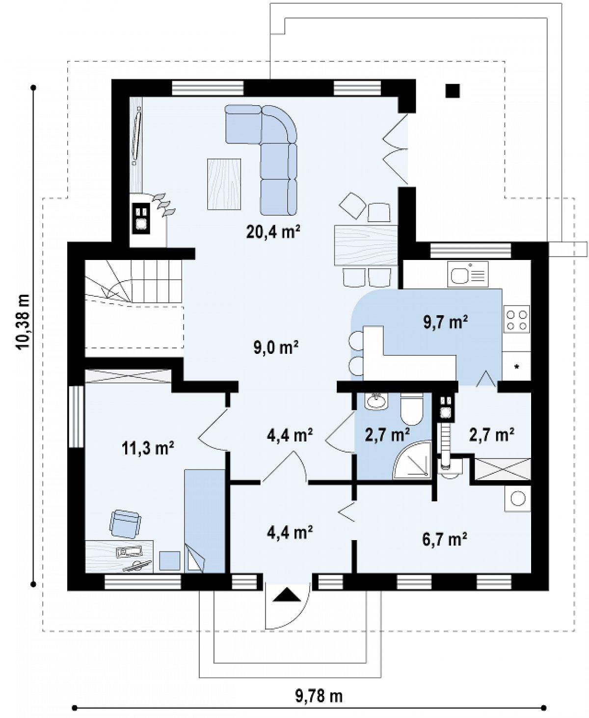 Первый этаж 71,3 м² дома Z13