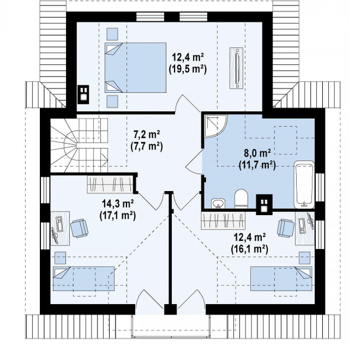 Второй этаж 54,3(72,1м²) дома Z13