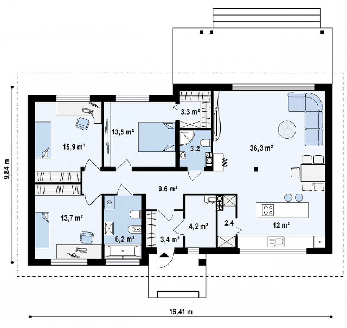 Первый этаж 123,7 м² дома Z140 v1