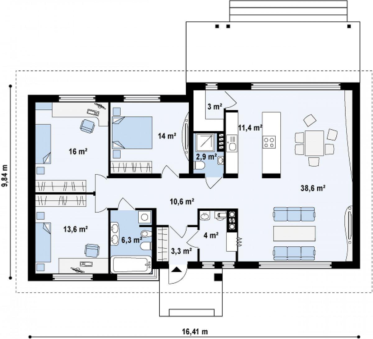 Первый этаж 123,6 м² дома Z140