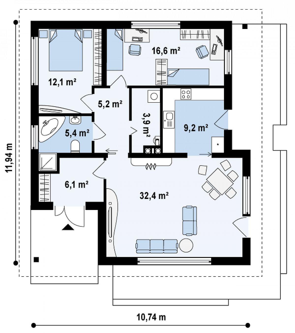 Первый этаж 90,9 м² дома Z141