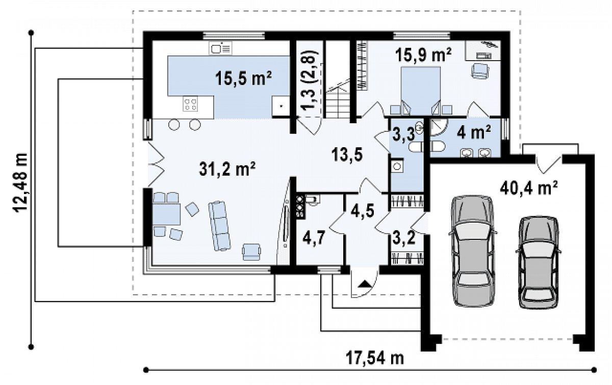 Первый этаж 97,0(138,9м²) дома Z142